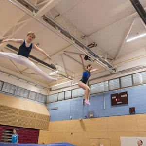 Trampoline courses for all. Two leisure members having fun at Kingston Trampoline Academy