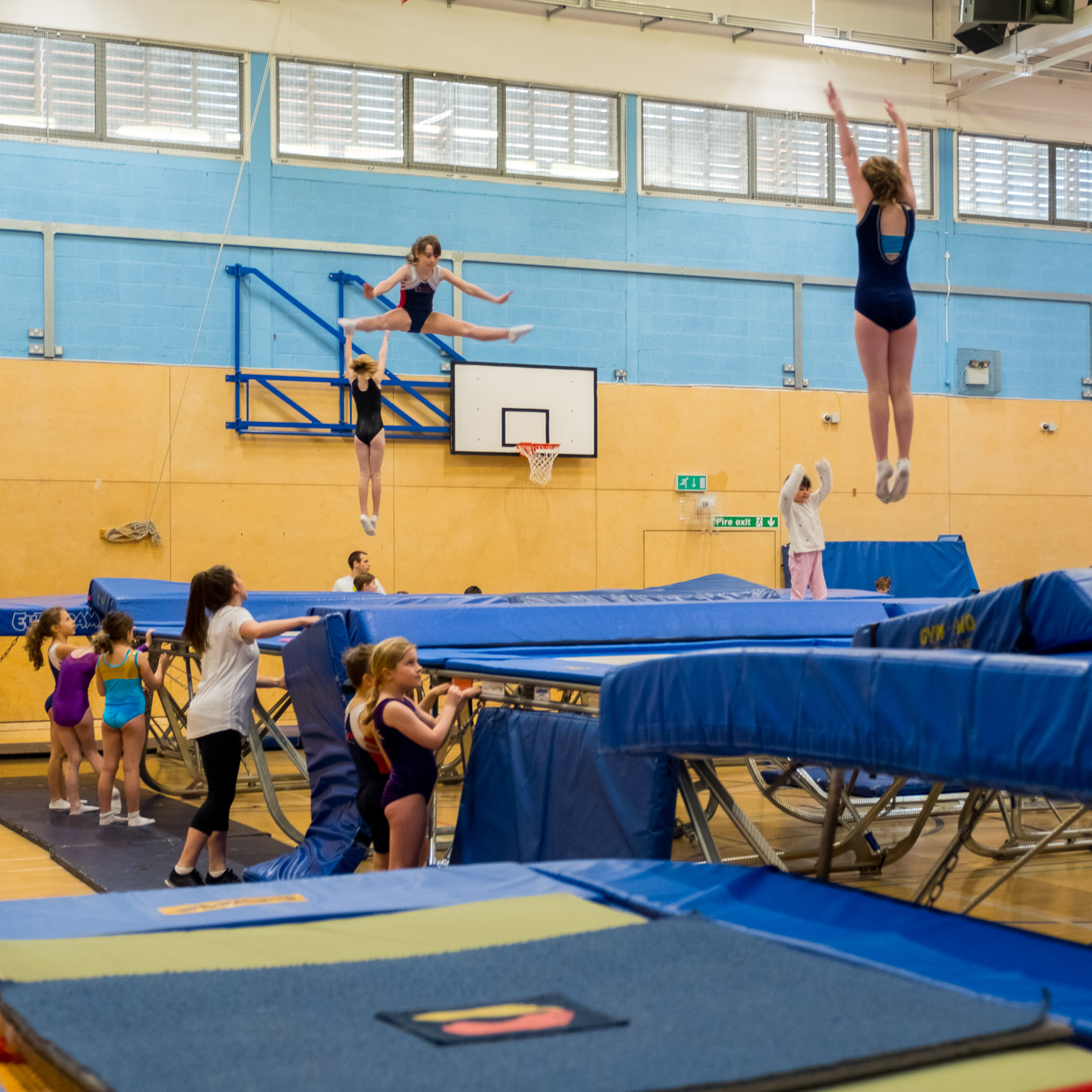 3 trampoline classes in action at once
